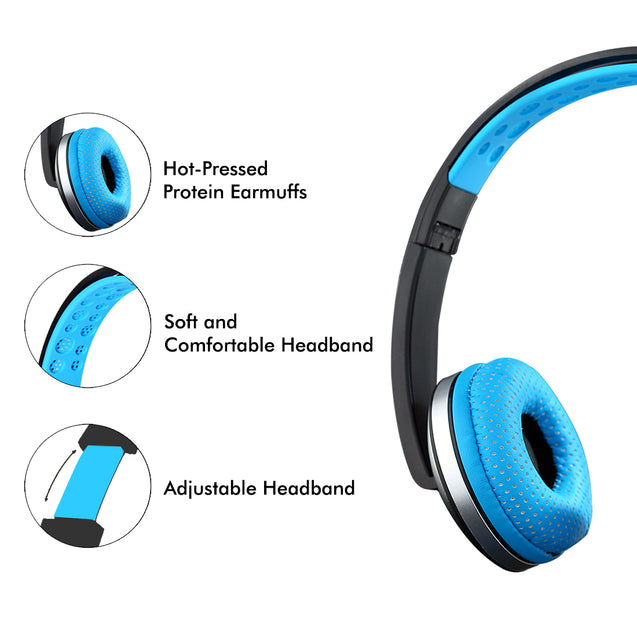 PTron Rebel Stereo Wired Headphone with Mic For All Smartphones (Black/Blue)