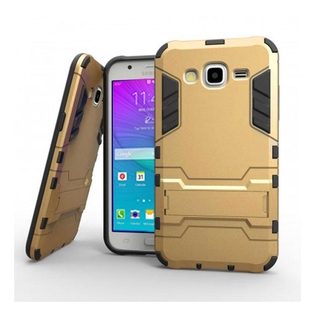 Samsung Galaxy J7 2015 Back Cover Shockproof Armor Hard Back Case (Gold)