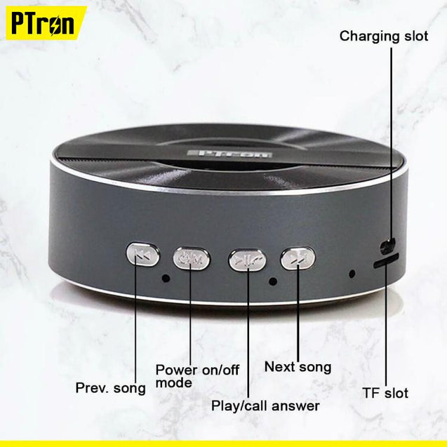 PTron Musicbot Mini Portable Bluetooth Speaker With TF, USB Support For All iOS Smartphones (Black)