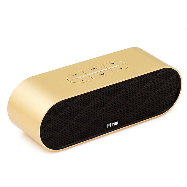 PTron Mojo Mini Bluetooth Speaker With Dual Speaker Support TF, USB For All Smartphones (Gold)