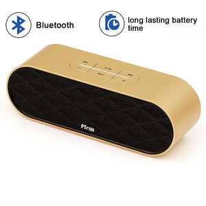 PTron Mojo Mini Bluetooth Speaker With Dual Speaker Support TF, USB, FM Radio For All Smartphones (Gold)