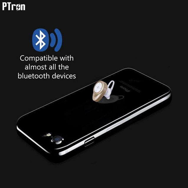 PTron Lynx Premium Quality Wireless Mini Bluetooth Headset For Xiaomi Mi Note Pro (Gold)