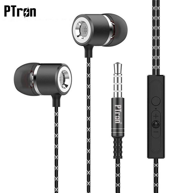 PTron Flux In-Ear Stereo Headphone with Noise Cancellation For iPhone 6 (Black)