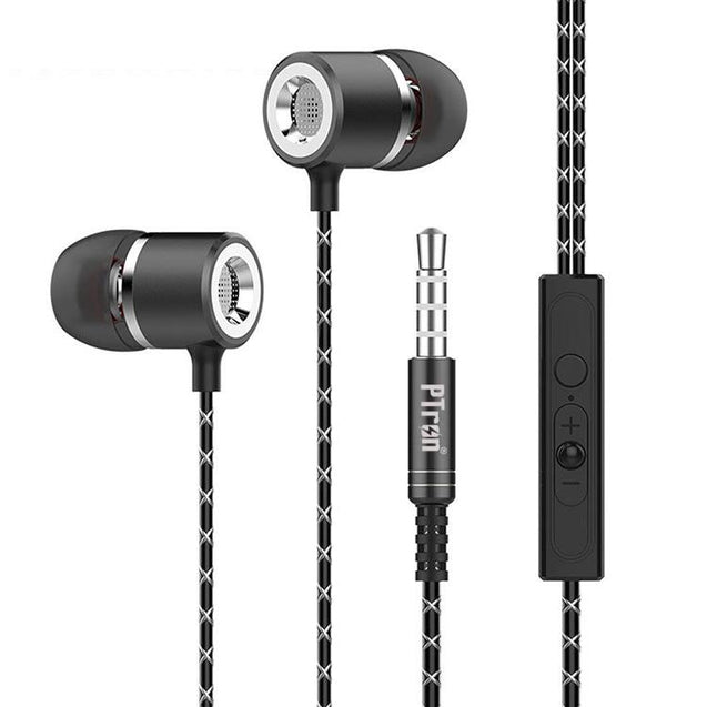 PTron Flux In-Ear Stereo Headphone with Noise Cancellation for Motorola Moto M (Black)