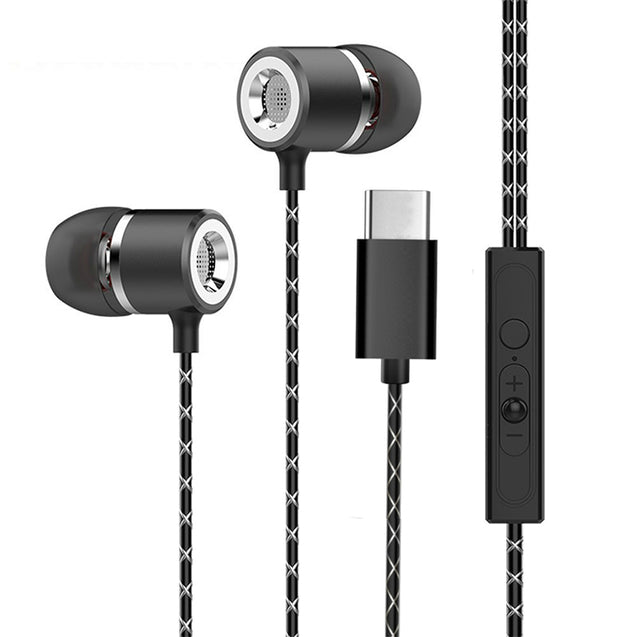 PTron Flux In-Ear Stereo Headphone with Noise Cancellation for All Type C Smartphones (Black)