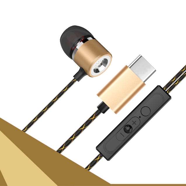 PTron Flux In-Ear Stereo Headphone with Noise Cancellation for All Type C Smartphones (Gold)