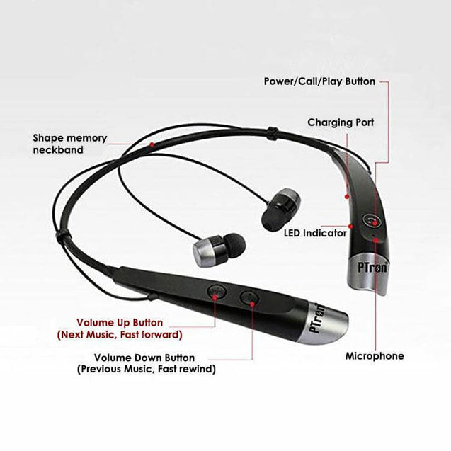 PTron Tangent Bluetooth Headset Wireless Stereo Headphone for All SmartPhones Black & Silver