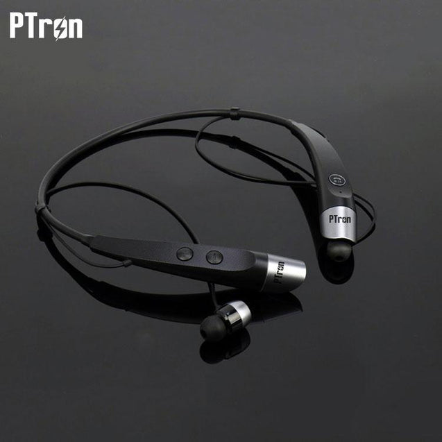 PTron Tangent Bluetooth Headset Stereo Wireless Headphone For Samsung Galaxy C9 Pro (Black & Silver)