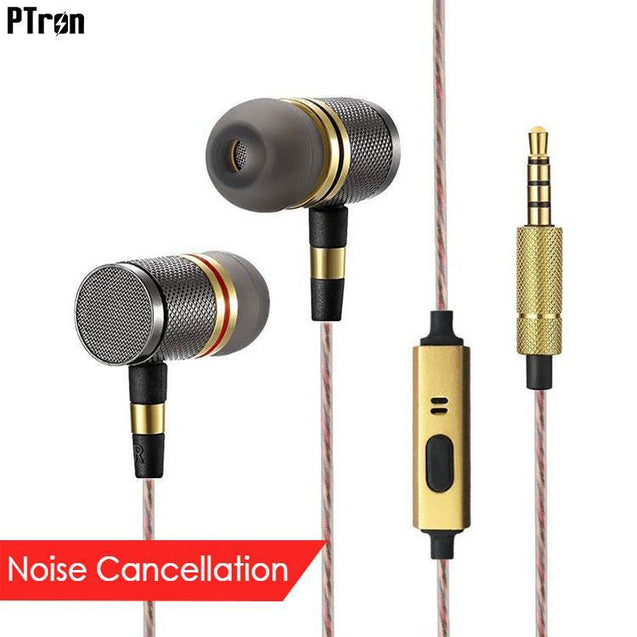 PTron Aristo In-Ear Headphone With Noise Cancellation For All Lenovo Smartphones (Gold)