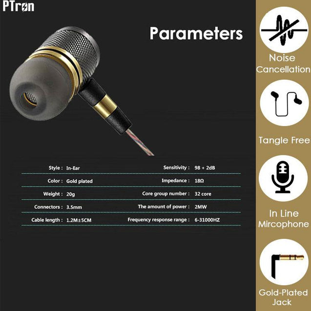 PTron Aristo In-Ear Headphone With Noise Cancellation For Xiaomi Redmi 3S (Gold)