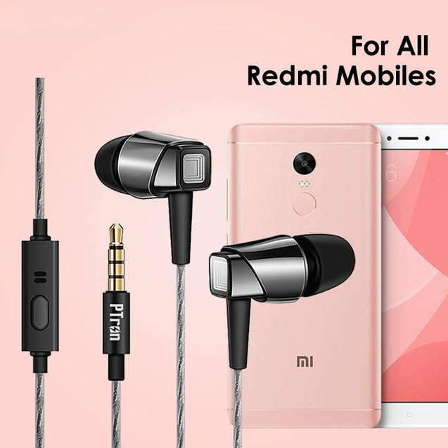 PTron Pride In-Ear Headphone With Noise Cancellation For All Xiaomi Redmi Smartphones (Black/Nickel)
