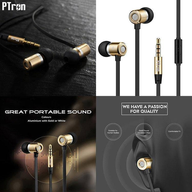 PTron Unison In-Ear Headphone With Noise Cancellation For Xiaomi Redmi 3S Plus?Gold)