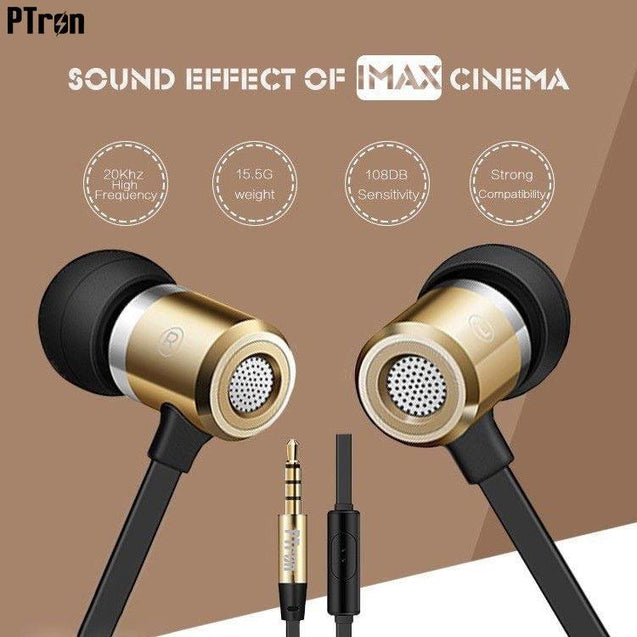 PTron Unison In-Ear Headphone With Noise Cancellation For Xiaomi Redmi 1s (Gold)