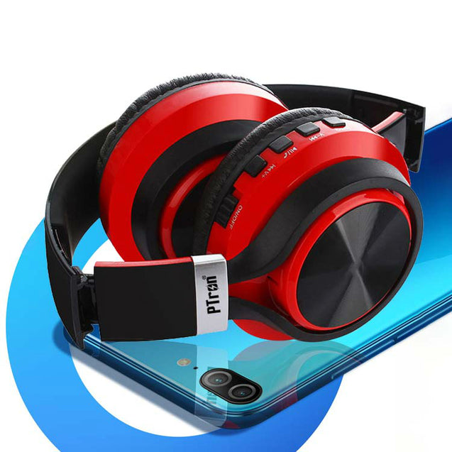 PTron Kicks Bluetooth Headset Wireless Stereo Headphone With Mic For All Smartphones (Red)