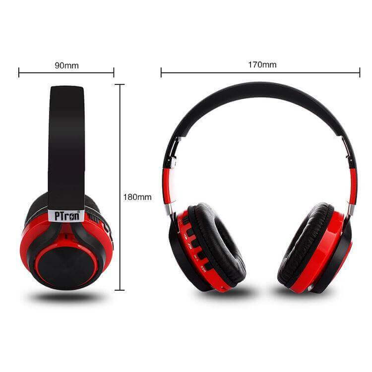 47d6d3bb647 PTron Kicks Bluetooth Headset Wireless Stereo Headphone With Mic For All  Smartphones (Red)