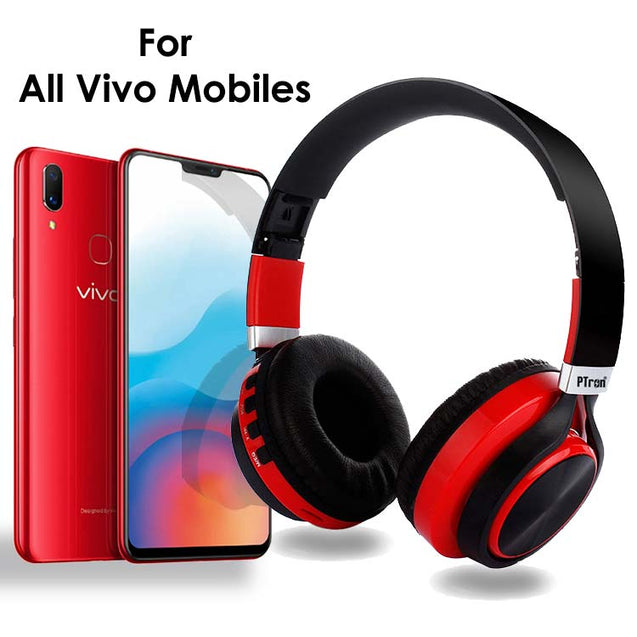 PTron Kicks Bluetooth Headset Wireless Stereo Headphone With Mic For All Vivo Smartphones (Red)