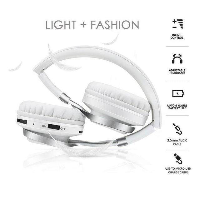 PTron Kicks Bluetooth Headset Wireless Stereo Headphone With Mic For All Smartphones (White)