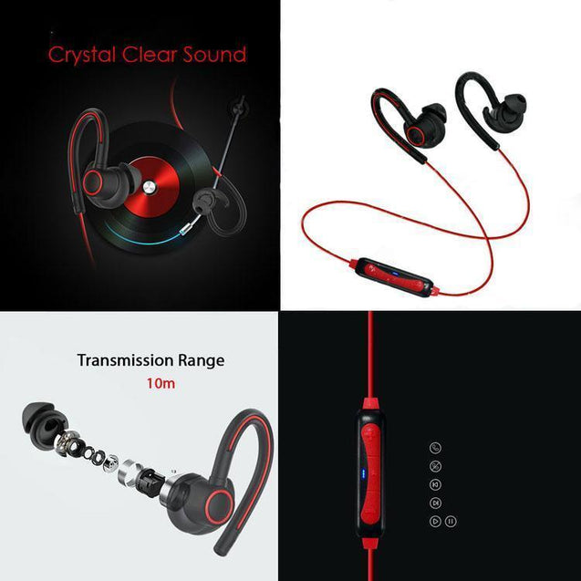 PTron Sportster In-ear Bluetooth Headset Wireless Stereo Earphones With Mic For OnePlus 5T (Red)