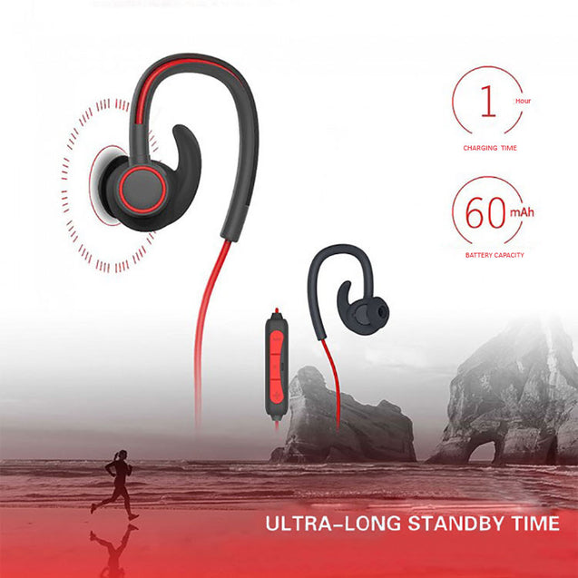 PTron Sportster In-ear Bluetooth Headset Wireless Stereo Earphones With Mic For Motorola Moto E4 Red