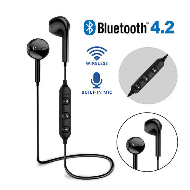 PTron Avento Bluetooth Headphones In-Ear Wireless Earphones With Mic For Samsung Galaxy J7 Max Black