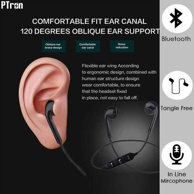 PTron Avento Bluetooth Headphones In-Ear Wireless Earphones With Mic For Apple Iphone X (Black)