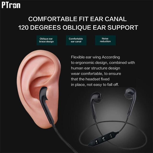PTron Avento Bluetooth Headphones In-Ear Wireless Earphones With Mic For Samsung Galaxy C9 Pro Black