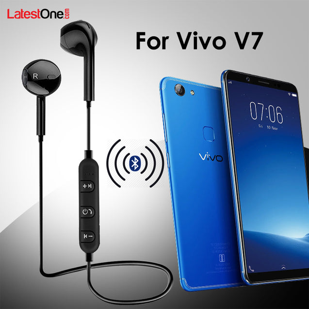 PTron Avento Bluetooth Headphones In-Ear Wireless Earphones With Mic For Vivo V7 (Black)
