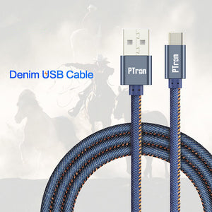 PTron Indigo USB To Type C Data Cable Jeans Cloth Sync Charging Cable For All Type C Smartphones