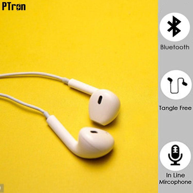 PTron Avento Bluetooth Headphones In-Ear Wireless Earphones With Mic For Lenovo Vibe K5 Note (White)