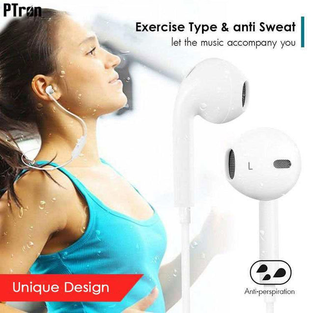 PTron Avento Bluetooth Headphones In-Ear Wireless Earphones With Mic For Samsung Galaxy A9 Pro White