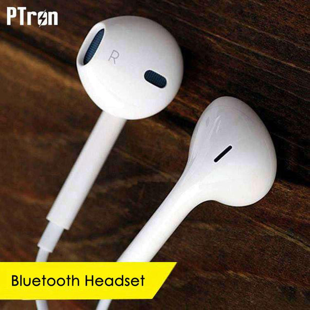PTron Avento Bluetooth Headphones In-Ear Wireless Earphones With Mic For Apple Iphone X (White)