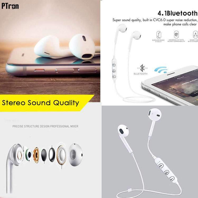 PTron Avento Bluetooth Headphones In-Ear Wireless Earphones With Mic For Vivo V5S (White)