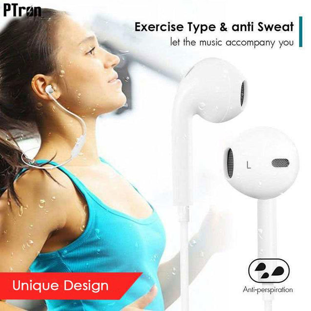 PTron Avento Bluetooth Headphones In-Ear Wireless Earphones With Mic For Vivo Y66 (White)