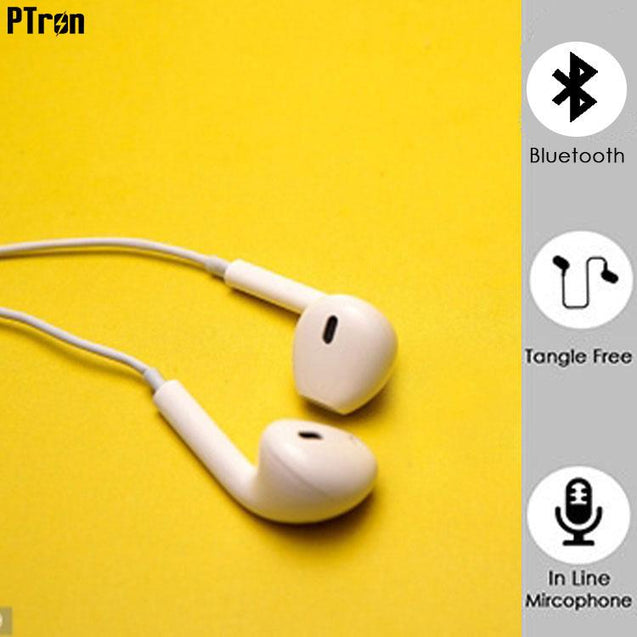 PTron Avento Bluetooth Headphones In-Ear Wireless Earphones With Mic For Xiaomi Redmi 3S (White)