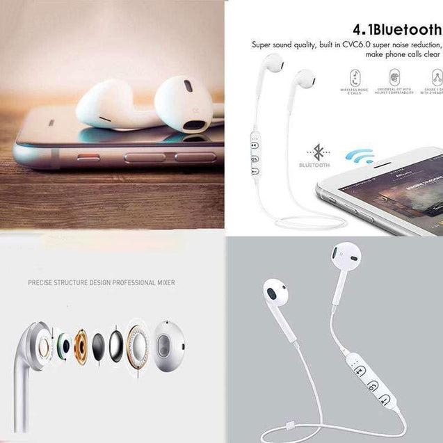 PTron Avento Bluetooth Headphones In-Ear Wireless Earphones With Mic For Samsung Galaxy S8 (White)