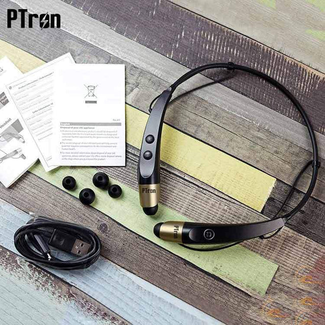 PTron Tangent Bluetooth Headset Stereo Wireless Headphone For All iPhones (Black/Gold)