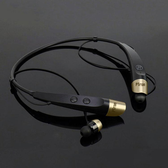 PTron Tangent Bluetooth Headset Wireless Stereo Headphone for All Smartphones Black/Gold