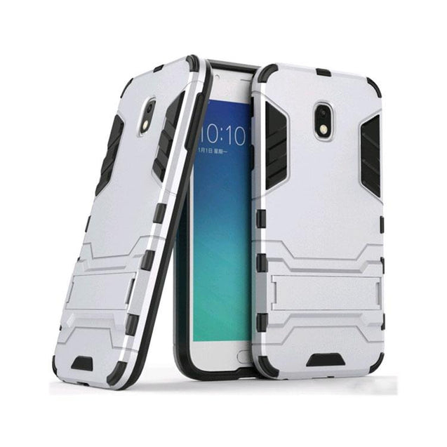 Samsung Galaxy J7 Pro Back Cover Hybrid Shockproof Armor Hard Back Case (Silver)