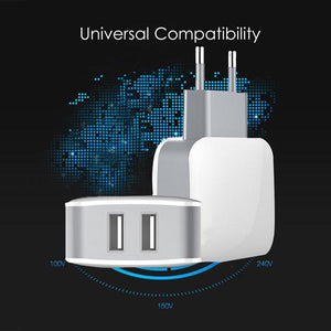 PTron Volta TC240WC 2.4A 2 Port USB Travel Charger Adapter For All Smartphones (White)
