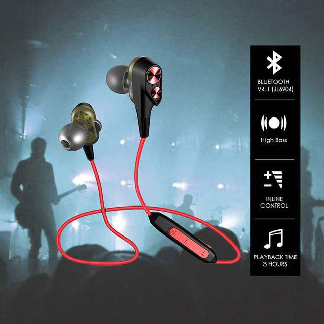 PTron BT Boom 4D Bluetooth Headphones With Mic For Huawei Honor V10 (Red & Black)
