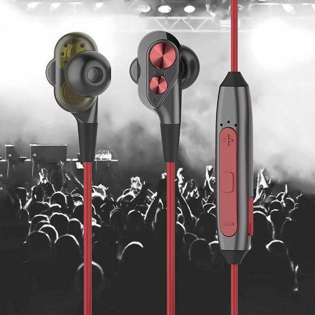 PTron BT Boom 4D Bluetooth Headphones With Mic For Oppo F5 Youth (Red & Black)