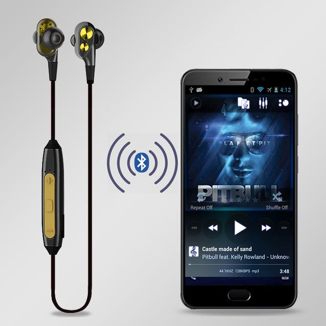 PTron BT Boom 4D Bluetooth Headphones With Mic For All Smartphones (Gold & Black)