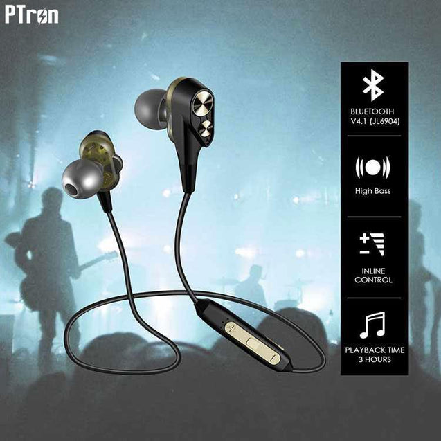 PTron BT Boom 4D Bluetooth Headphones With Mic For OPPO F1s (Gold & Black)