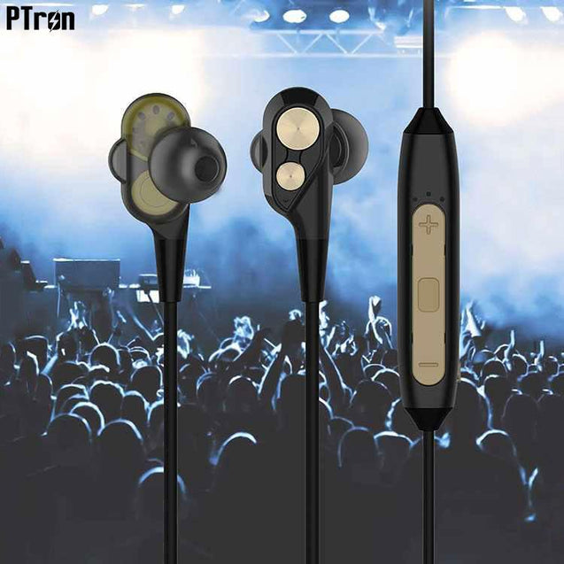 PTron BT Boom 4D Bluetooth Headphones With Mic For Samsung Galaxy J7 Max (Gold & Black)