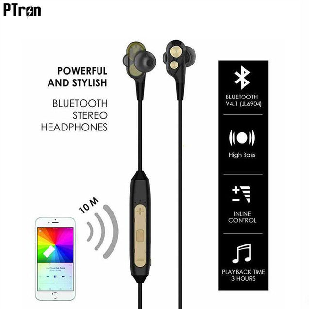 PTron BT Boom 4D Bluetooth Headphones With Mic For Vivo V7 Plus (Gold & Black)