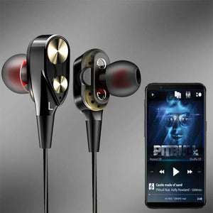 PTron Boom Evo 4D Earphone Deep Bass Stereo Wired Headphone For Xiaomi Redmi A3 Mobiles (Black/Gold)