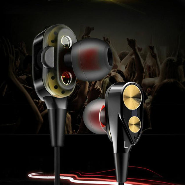 PTron Boom 2 4D Earphone Deep Bass Stereo Sport Wired Headphone For Oppo R17 Pro (Black/Gold)