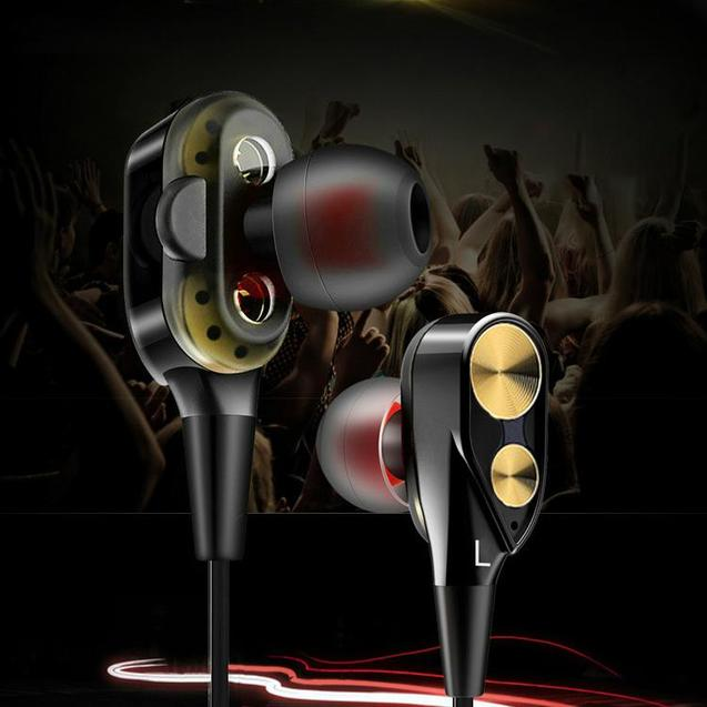PTron Boom Evo 4D Earphone Deep Bass Stereo Wired Headphone With Mic For OnePlus 6 (Black/Gold)