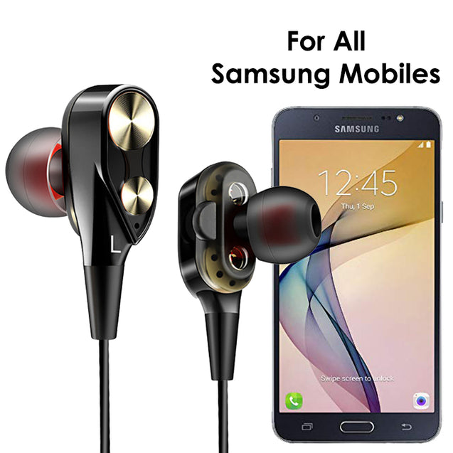 PTron Boom 2 4D Earphone Deep Bass Stereo Wired Headphone For All Samsung Smartphones (Black/Gold)