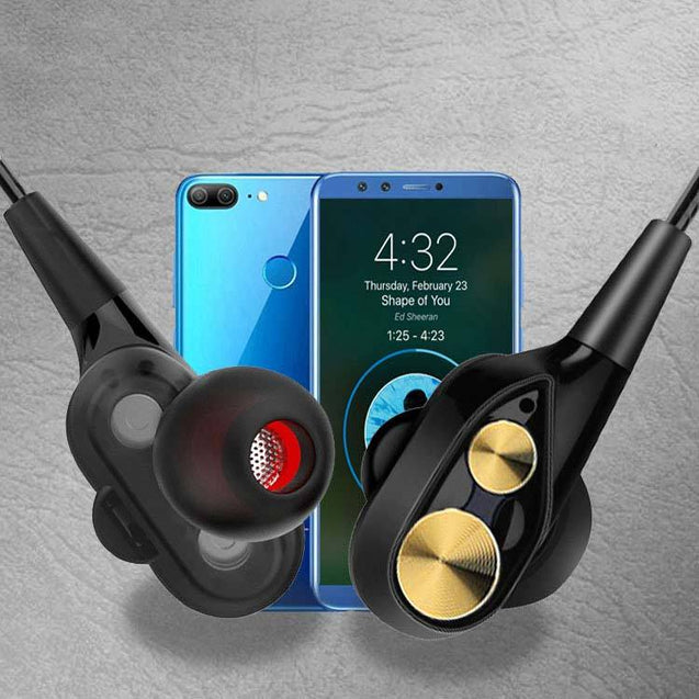 PTron Boom 2 4D Earphone Deep Bass Stereo Wired Headphone For Huawei Honor Mate 10 Lite (Black/Gold)